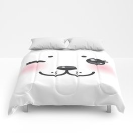 Kawaii funny albino animal white muzzle with pink cheeks and winking eyes Comforters