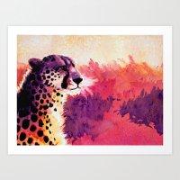 cheetah Art Prints featuring Cheetah by Fallen Apple Designs