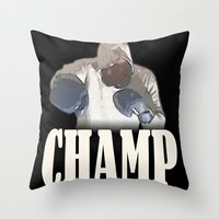 boxing Throw Pillows featuring BOXING CHAMP  by Robleedesigns