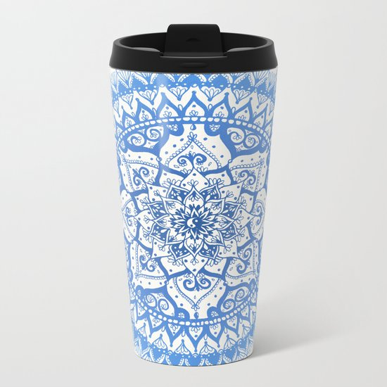 Yin Yang Mandala in Soft Blues Metal Travel Mug