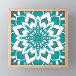 Teal Gray Mandala Flower Framed Mini Art Print