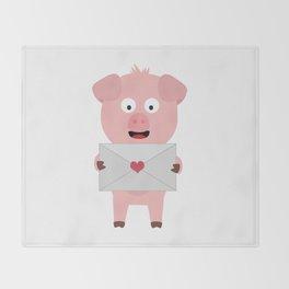 Cute Pig with Loveletter Throw Blanket