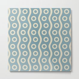 Mid Century Modern Rising Bubbles Pattern 2 Blue and Cream Metal Print