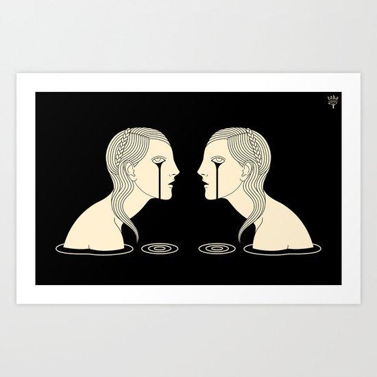 Girl in Tears Art Print