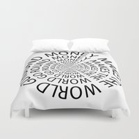 scarface Duvet Covers featuring Money World by Text Guy
