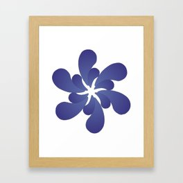 Indigo ombre six-petaled spiral flower Framed Art Print