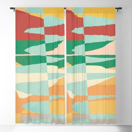 Abstract Vertical Waves Blackout Curtain