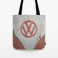 vw bus Tote Bags featuring Old Timer VW Bus  by wildVWflower