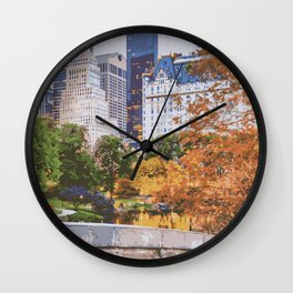 I Recall Central Park in Fall Wall Clock