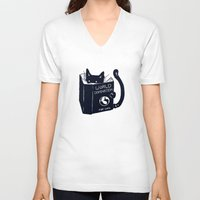 animal V-neck T-shirts featuring World Domination For Cats by Tobe Fonseca