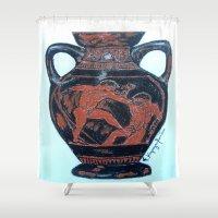 greek Shower Curtains featuring Greek Amphora by Romantique Jardin