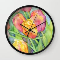 tulips Wall Clocks featuring Tulips by Susan Windsor