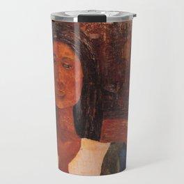 Woman in Blue Scarf Travel Mug