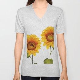 Sunflowers Illustration Unisex V-Neck