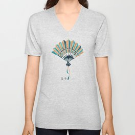 Folding Fan – Teal & Gold Palette Unisex V-Neck