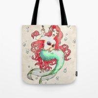 mucha Tote Bags featuring Mucha-esque Mermaid by Beth Aucoin