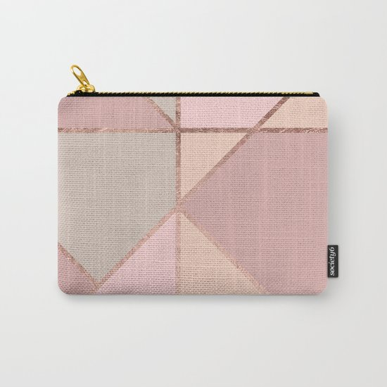 Modern rose gold peach blush pink color block Carry-All Pouch