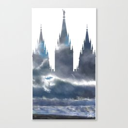f4ab38a54a93 Salt Lake Temple Dramatic Sky Silhouette Canvas Print
