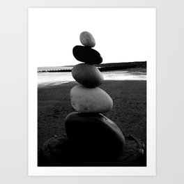 Balancing Rocks on Hornsea Beach Art Print