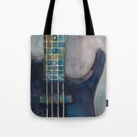 bass Tote Bags featuring Ed's Bass by Dorrie Rifkin Watercolors