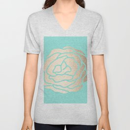 Rose in White Gold Sands on Tropical Sea Blue Unisex V-Neck