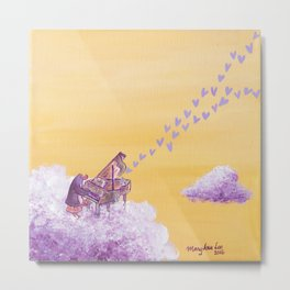 Penguin Playing A Song of Love on Piano Metal Print