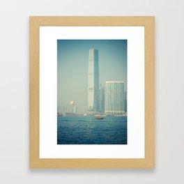 Small Boat, Big Building Framed Art Print
