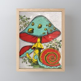 Snail and mushrooms Framed Mini Art Print