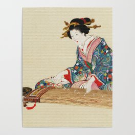 Japanese Lady Playing the Koto Poster