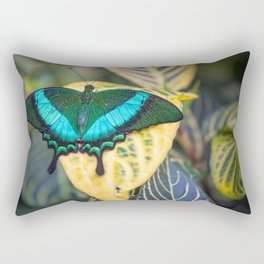 Emerald Peacock Rectangular Pillow