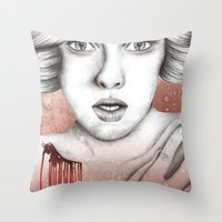 sleeping beauty Throw Pillows featuring Sleeping Beauty by Kayleigh Day