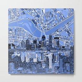 louisville city skyline blue Metal Print