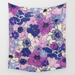Red Violet and Navy Anemones Wall Tapestry