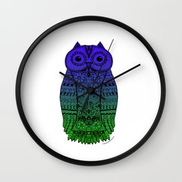 Doodle Owl with blue green gradient Wall Clock