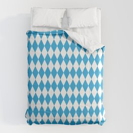 Oktoberfest Bavarian Blue and White Large Diagonal Diamond Pattern Comforters