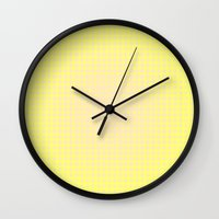 yellow pattern Wall Clocks featuring Yellow by Mr & Mrs Quirynen