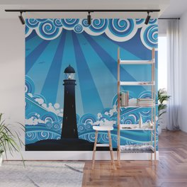 Blue stylized sea with big waves and lighthouse Wall Mural