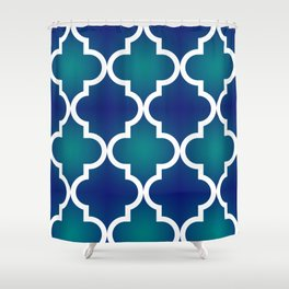 Quatrefoil - Teal and Blue Ombre Shower Curtain