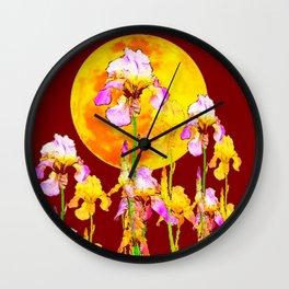 BURGUNDY SKY IRIS GARDEN RISING GOLDEN MOON Wall Clock