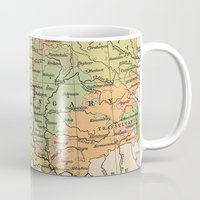 vintage map Mugs featuring Vintage Map by littlehomesteadco