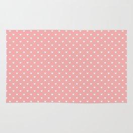 Classic White Mini Love Hearts on Bright Blush Pink Rug