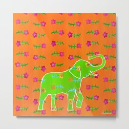 Elephant - green Metal Print