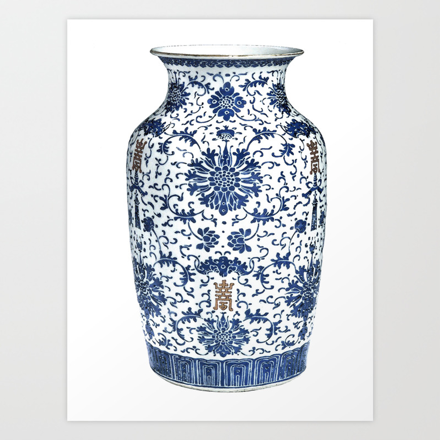Blue & White Chinoiserie Porcelain Vase with Chrysanthemum Art Print by  paperwords