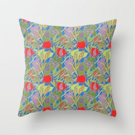 Seven Species Botanical Fruit and Grain with Blue Background Throw Pillow