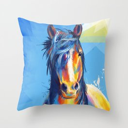 Horse Beauty - colorful animal portrait Throw Pillow