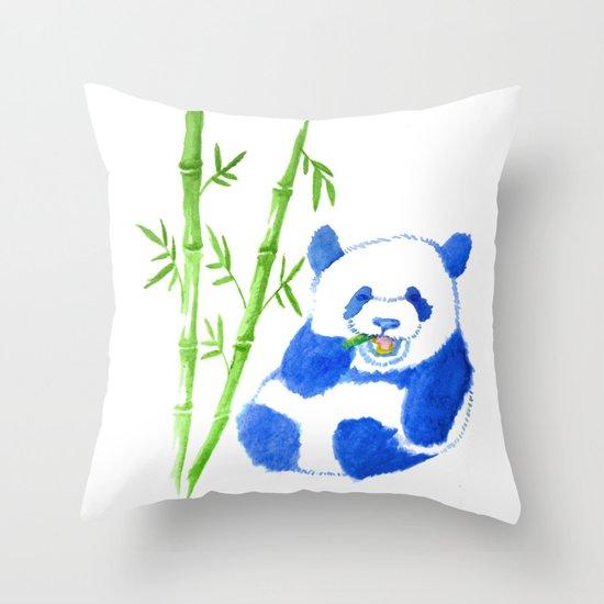 Panda eating bamboo Watercolor Print Throw Pillow