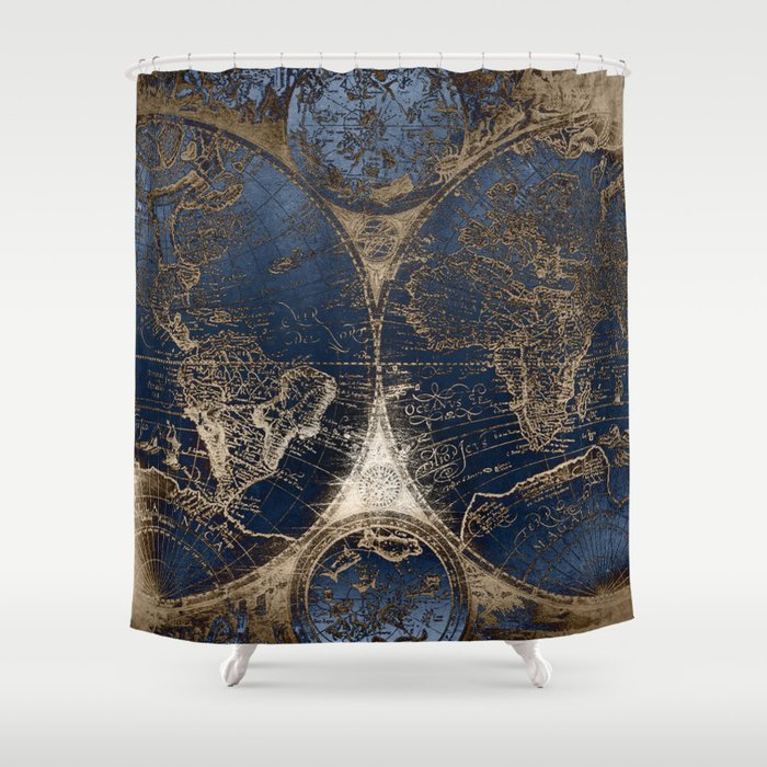 World Map Deep Blue And Gold Shower Curtain