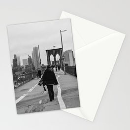 Woman walking on the Brooklyn Bridge and downtown New York, USA | Sky and water | abstract travel art | Tipical NY building and view architecture photo Art Print Art Print Stationery Cards