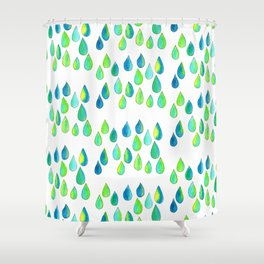 Cherish All of Your Tears blue green pattern tears illustration watercolor inspirational words Shower Curtain