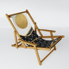 Gold Sun, digital surreal landscape Sling Chair